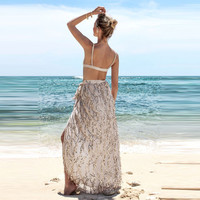 Women's Fashion Summer Tassels Irregular Prom Dress Maxi Dress [11462531023]