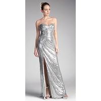 CLEARANCE - Sequins Strapless Long Prom Dress Sweetheart Neckline Silver (Size Large)