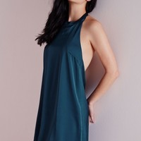 Missguided - Silky Backless Shift Dress Teal