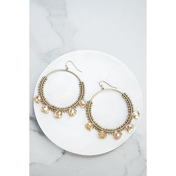 Neutral Brown Beaded Statement Earrings