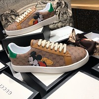Gucci co branded Disney Mickey single shoes / small white shoes