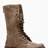 Brown Faux Leather Mid Calf Ankle Boots