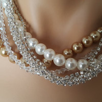 Pearl Necklace, Wedding Necklace, Bridal Jewelry with Multi Color and Strands Aegean Lights - FREE SHIPPING