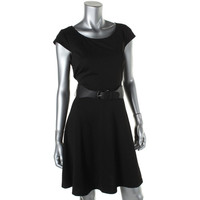 AGB Womens Textured Short Sleeves Wear to Work Dress