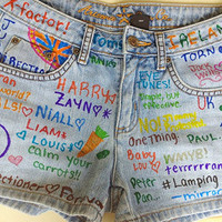 One Direction 1D Denim Wash Shorts Distressed by LongLiveFashion