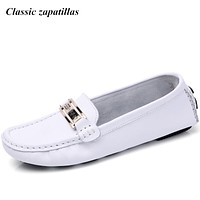 Classic Zapatillas Shoes Woman 2017 Genuine Leather Women Shoes Flats 6colors Loafers Slip On Women's Flat Shoes Moccasins