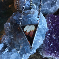 Black and Red Butterfly Triangle Pendant