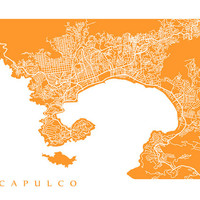 Acapulco Map Art Print -  Mexico Poster