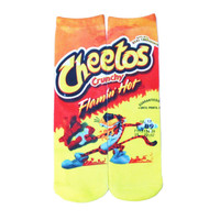 All Over Print Flamin Hot Cheetos Print Socks Long Casual Skateboard Sport Socks Men Women Food Design Socks Street Rock Style