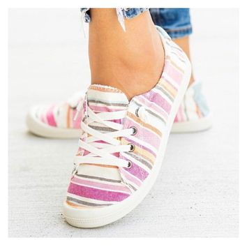 Crazy Cute Lace Up Pink Striped Sneakers
