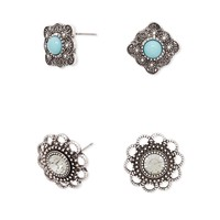Etched Flower Studs