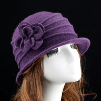 women dome fedora 100% wool hat mom hats for autumn and winter solid floral warm floppy hat Vintage Retro Bowler Fedoras Caps