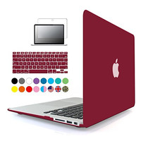 iBenzer - 3 in 1 Soft-Skin Smooth Finish Soft-Touch Plastic Hard Case Cover & Keyboard Cover & Screen Protector for Macbook Air 13.3''NO CD-ROM, Wine Red MMA13WR+2