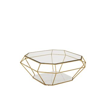 Polished Diamond Gold Coffee Table | Eichholtz Asscher
