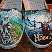THE HOBBIT Hand Painted shoes Tolkein Smaug Middle Earth Gandalf Lord of the Rings Bilbo Baggins Legolas