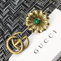 Gucci Double G Flower Rivet Asymmetrical Stud Earrings Jewelry Accessories