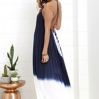 Caribbean Cruise Ivory and Navy Blue Tie-Dye Maxi Dress