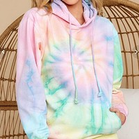 2020 new women's tie-dye printed casual loose hooded sweater