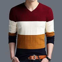 V-Neck Pull Homme Casual Slim Fit Sweater Men Classic Pullover Men V-neck Color-block Plaid Cashmere Wool Sweaters Shirts