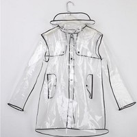 Fashion Short/Long Clear Transparent PVC Runway Jacket Rain Coat Men Womens Girl