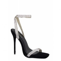 Laurel Black Suede Clear Diamante Square Toe Heels : Simmi Shoes