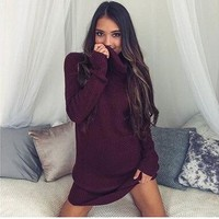 Knit Winter Women's Fashion Sexy Long Sleeve One Piece Dress [22394732570]