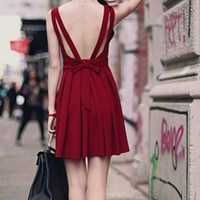Burgundy Wine Sleeveless V Neck Cut Out Bow Back Pleated Skater Circle A Line Flare Mini Dress