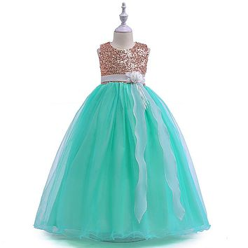 Ball Gown Scoop Cap Sleeves Organza Sequins Sparkle Flower Dress