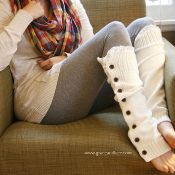 SALE SALE The Miss Molly - off-white Slouchy Button Down leg warmers w/ Ivory Knit Lace - Legwarmers (item no. 7-16)