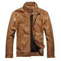 Partiss Mens Motorcycle Leather Jacket M Yellow