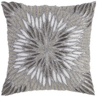 Silver Beaded Bloom Pillow