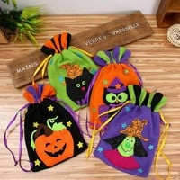 1pc Halloween Decoration Witch/Pumpkin/Owl/ Cat Non-woven Fabric Candy Bag Halloween Party Decoration for Children Gifts Bag .Q