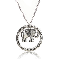 New Fashion Elephant Charm Pendant Necklace Letter Love Dream Hope Trust Jewelry