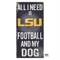 LSU Tigers Distressed Football And My Dog Sign