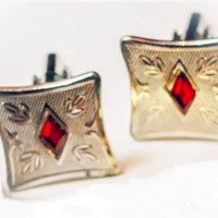 Mid Century Red Gem Cuff Links, Chic Rockabilly Red Rhinestone & Embossed Silvertone Retro 50s Hipster CuffLinks, Cool Valentines Day Gift