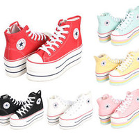 New Womens Canvas High-Top Platform Sneakers  Black,Red,Pink,Blue,Yellow,White