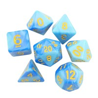 Stormblessed  - Light and Dark Blue Swirled Set of 7 Polyhedral RPG Dice for D&D