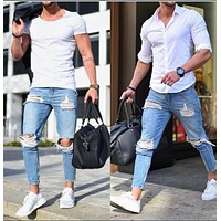 Men Jeans Ripped Holes Skinny Pants [407120445469]