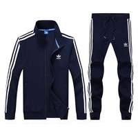 Adidas Women Men Fashion Casual Cardigan Jacket Coat Pants Trousers Set Two-Piece