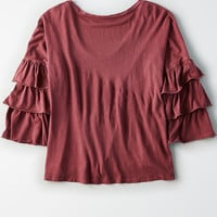 AEO Soft & Sexy Relaxed Tiered-Sleeve Top, Burgundy