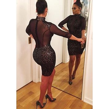 Casual Black Patchwork Sequin Grenadine High Neck Bodycon Club Party Mini Dress