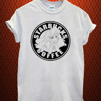 Starbuck Ariel Little Mermaid Music tee Ash Grey t Shirt Men and Women T Shirt more size available