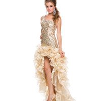 Gold One Shoulder Sequin Gown Prom 2015