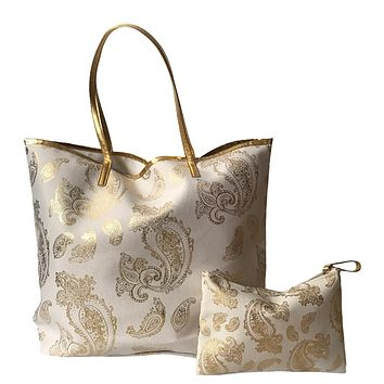 Foil paisley print Tote bag shoulder handbag matching wristlet set