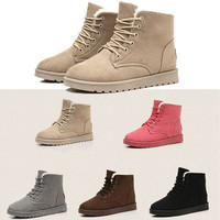 Womens Winter Warm Snow Fur Lined Lace Up Flat High Ankle Boots Round Toe Shoes = 1932016004
