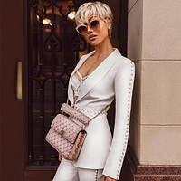 SITA White V Neck Long Sleeve 2 Piece Sexy Bodycon Suit