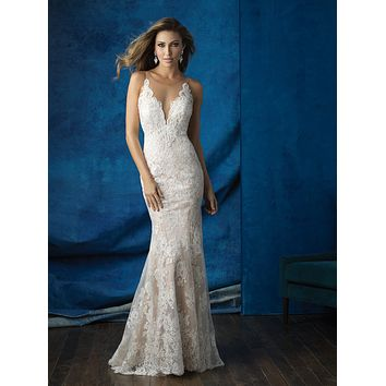 Allure Bridals 9363 Illusion Neckline Lace Sheath Wedding Dress