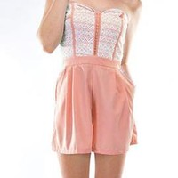 Sweet Talker Lace Bustier Romper in Peachy Pink | Sincerely Sweet Boutique
