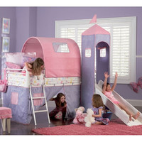Powell Princess Twin Castle Loft Bed and Slide with Tent and Slide