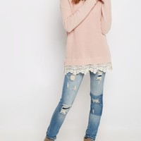 Pink Lace Trimmed Sweater | Sweaters | rue21